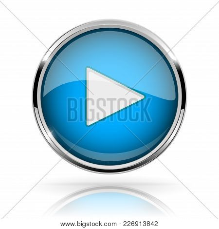 Blue Round Media Button. Play Button. Shiny Icon With Chrome Frame And With Reflection. Vector 3d Il