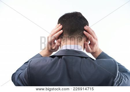 Man In Suit Have Head Ache Close-up Isolated On White Background