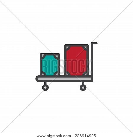 Hotel Trolley With Luggage Filled Outline Icon, Line Vector Sign, Linear Colorful Pictogram Isolated