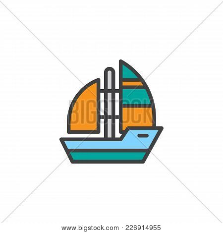 Yacht Boat Filled Outline Icon, Line Vector Sign, Linear Colorful Pictogram Isolated On White. Sea C