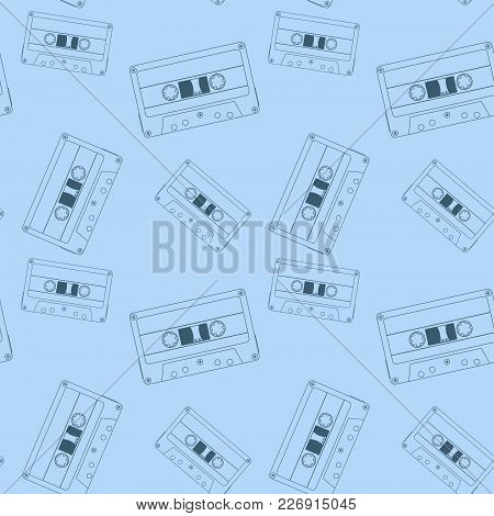 Audio Tape Cassette. Blue Seamless Pattern. Vector Illustration