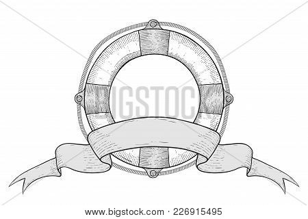 Lifebuoy And Ribbon Title Banner. Hand Drawn Sketch. Vector Illustration Isolated On White Backgroun