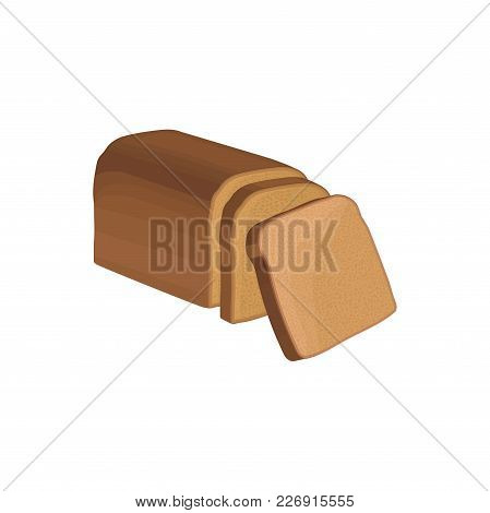 Whole Loaf Of Whole Grain Brown Brick-bread And Slices. Flat Detailed Cartoon Style Fresh Food Icon.