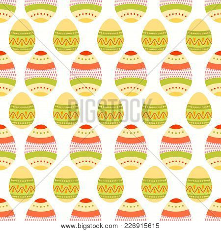 Seamless Pattern Of Colorful Boho Easter Eggs With Beautifull Dotted And Lined Design