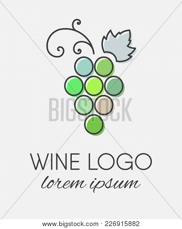 Green Colored Grapes Logo In Line Art Style. Wine Or Vine Logotype Icon. Brand Design Element For Or