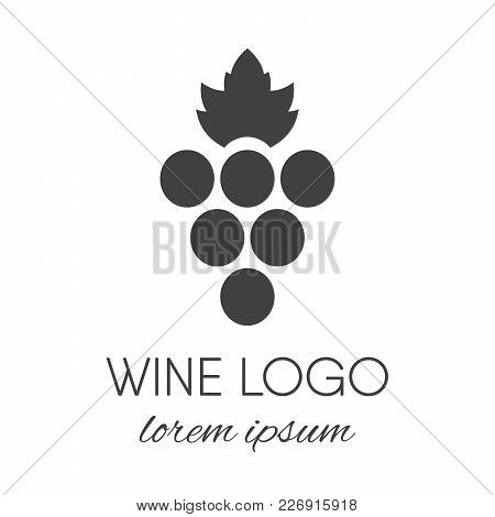 Stylized Grapes Logo. Wine Or Vine Logotype Icon. Brand Design Element For Organic Wine, Wine List,