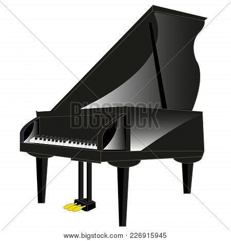 Drawing Of The Music Instrument Piano On White Background