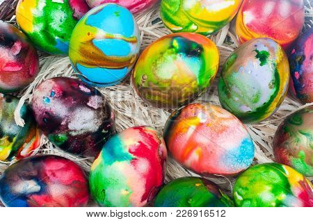 Colorful Easter Eggs On Natural Yellow Straw