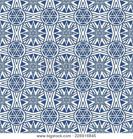 Vector Seamless Pattern: Octagon Oriental Ethnic Ornate. Persian Monochrome Style Imitation Composit