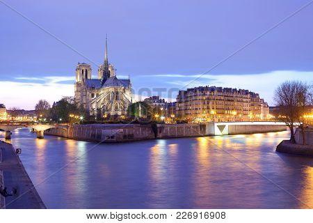 Notre Dame Cathedral And Ile De La Cite, Seine River, Paris, France