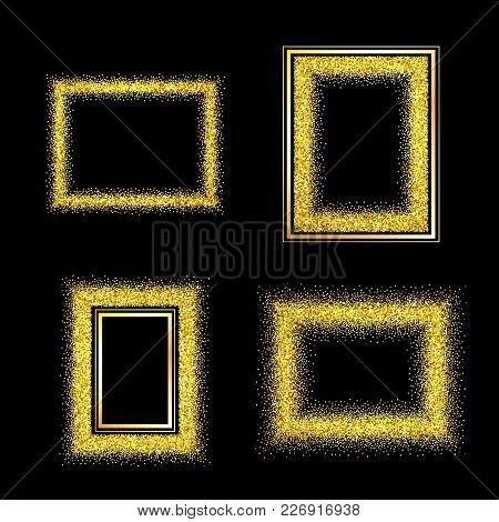 Set Of Elegant Luxury Gold Textured Frames On Black Background. Glitter Rectangle Template For Banne