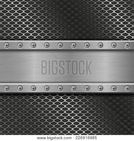 Metal Perforated Background With Rivets. Vector 3d Illustration
