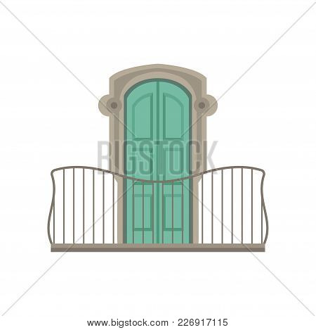 Window With Green Shutter And Wrought Iron Railing Vector Illustration Isolated On A White Backgroun