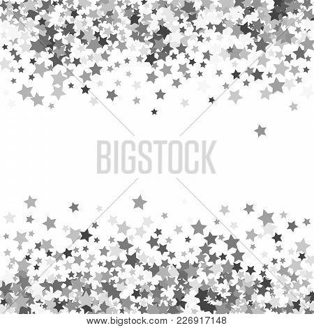 Abstract Pattern Of Random Falling Silver Stars On White Background. Glitter Template For Banner, Gr