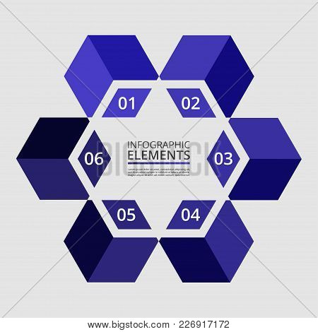 Abstract Infographic Template With 6 Steps For Success. Business Template With Six Options For Prese
