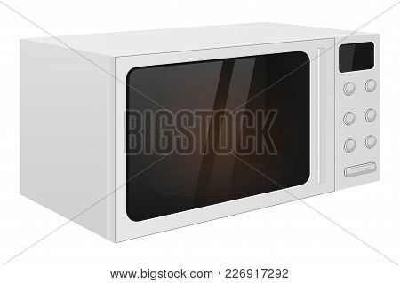 Microwave Oven. Vector 3d Illustration Isolated On White Background