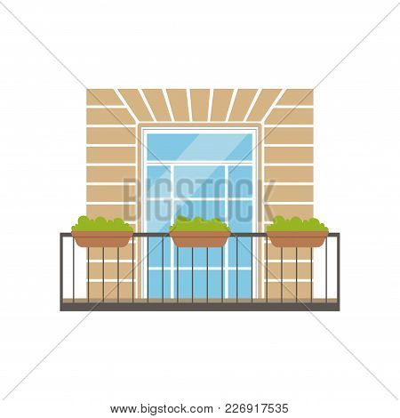 Balcony With Wrought Iron Railing And Plants In Pots, Classical House Facade Vector Illustration Iso