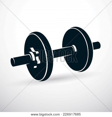 Dumbbell Vector Illustration Isolated On White Composed With Disc Weight. Sport Equipment For Weight