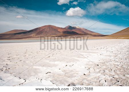 Tuyajto Lagoon And Salt Lake In The Altiplano (high Andean Plateau) Over 4000 Meters Over The Sea Le