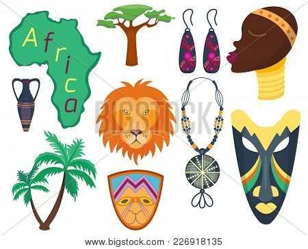 Africa Vector Icons Jungle Tribal And Maasai Ethnic African Woman Ancient Safari Traditional Travel