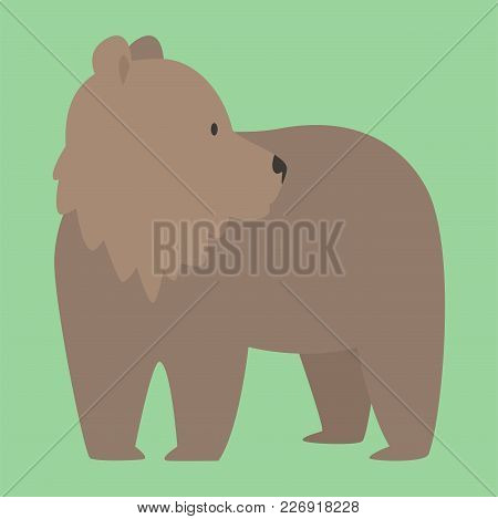 Brown Bear Vector Animal Isolated Mammal Teddy Grizzly. Funny Happy Cartoon Predator Cute Character