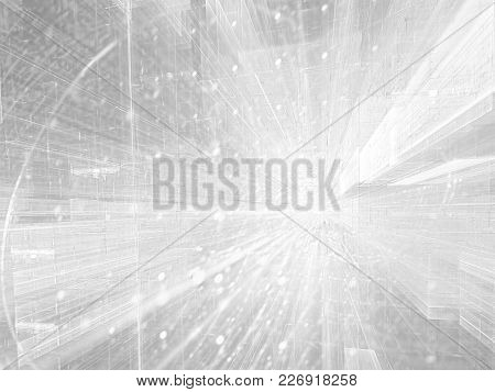 White Background In Technology Style. Abstract Computer-generated Image  - Backdrop With Perspective