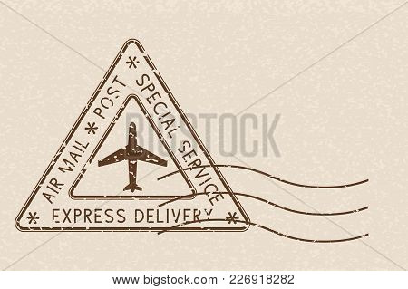 Air Mail Triangle Postmark Express Delivery. Brown Postmark On Beige Background. Vector Illustration