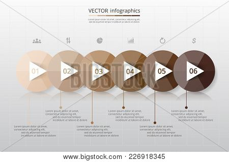 Step By Step Infographic. Timeline Template With 6 Numbers Can Be Used For Workflow Layout, Diagram,