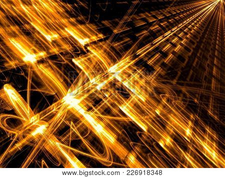 Technology Background With Light Effects - Abstract Computer-generated Image. Fractal Geometry - Fut