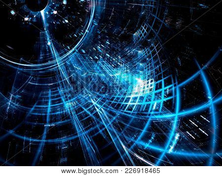 Technology Abstract Background - Diagonal Tunnel With Grid. Computer-generated Image - Fractal. Sci-