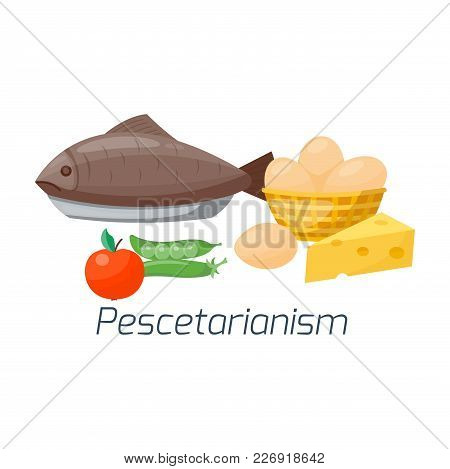 Vegetarian Food Diet Vector Illustration Types Healthy Nutrition Concept Fruits And Vegan Vegetables