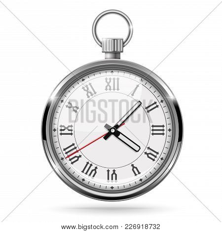 Metal Vintage Clock With Roman Numerals. With Stop Button. Vector 3d Illustration Isolated On White