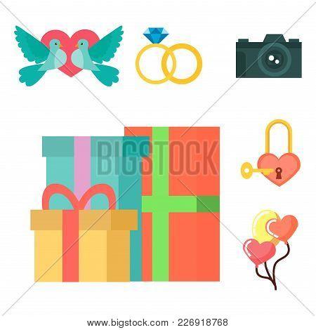 Wedding Invitation Celebration Set Flat Symbols Romance Decoration Couple Icons Vector Illustration.
