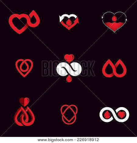 Vector Blood Donation Conceptual Illustrations Collection. Healthcare And Medical Treatment Concepts