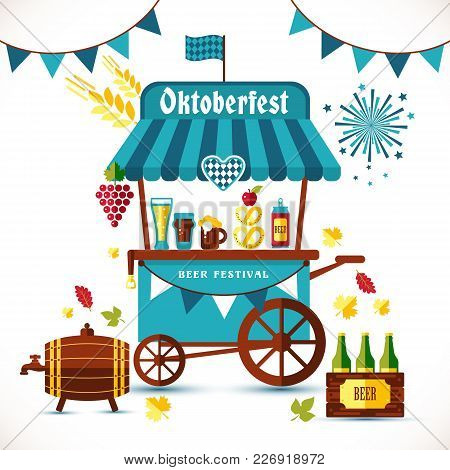 Beer Festival Illustration Of Tent With Autumn Symbols And Goods.