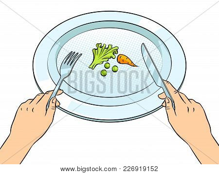 Healthy Food On Plate Pop Art Retro Vector Illustration. Diet Starvation. Isolated Image On White Ba