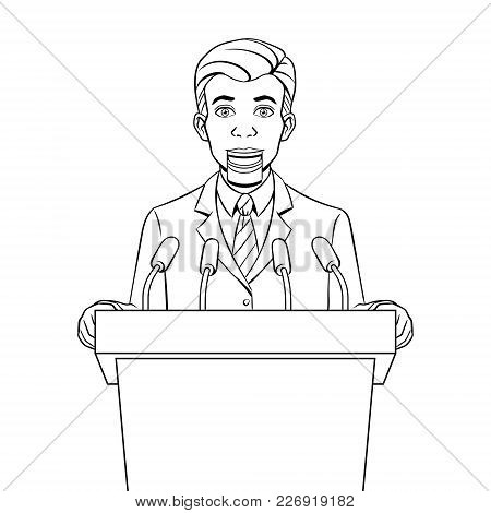 Speaking Puppet Tribune With Microphones Coloring Vector Illustration. Conceptual Political Lie Meta