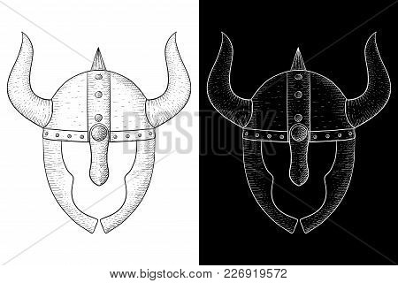 Horned Helmet With Face Protection. Viking Warriors Headwear. Hand Drawn Sketch. Vector Illustration