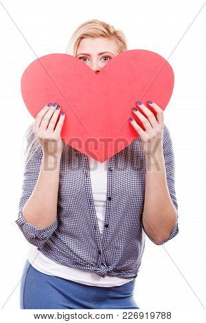 Valentines Day, Romance And Relationship Symbols Concept. Woman Holding And Hiding Behind Big Red He