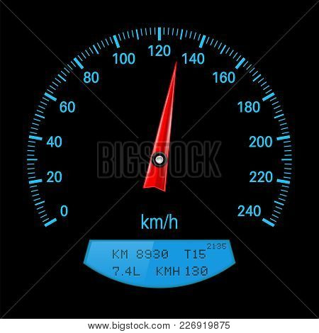 Black Speedometer With Blue Scale. Vector Illustration