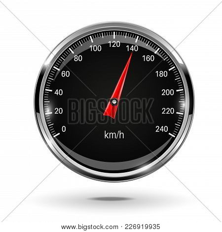 Speedometer. Round Black Gage With Metal Frame. Vector 3d Illustration Isolated On White Background