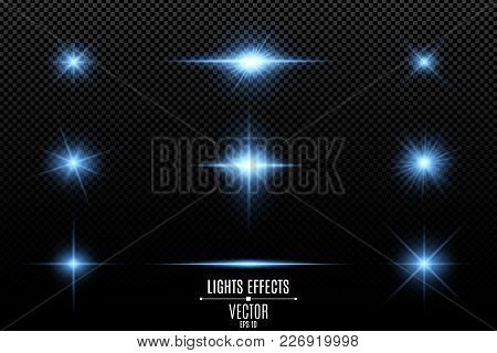 Set Of Light Effects, Lights And Sparks. Blue Lights On A Transparent Background. Bright Blue Flashe