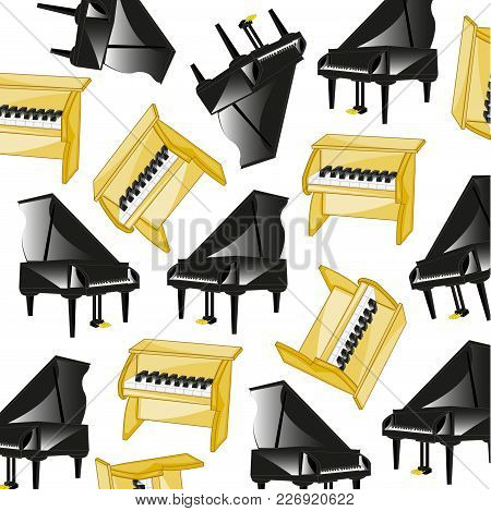 Two Music Instruments Piano Pattern On White Background Is Insulated