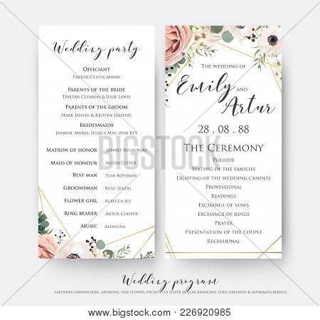 Wedding Program For Party & Ceremony Card Design With Elegant Lavender Pink Garden Rose, Anemone, Wa