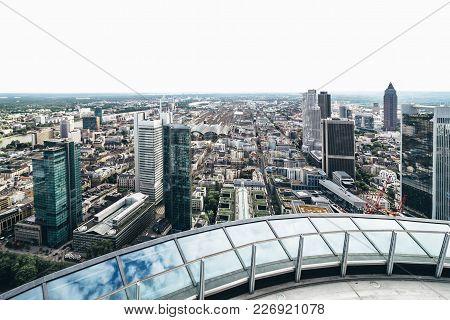 Aerial View Of Modern Skyscrapers Of Frankfurt City Center, Frankfurt Am Main, Germany