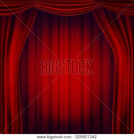 Red Theater Curtain Vector. Opera Cinema Scene. Realistic Illustration