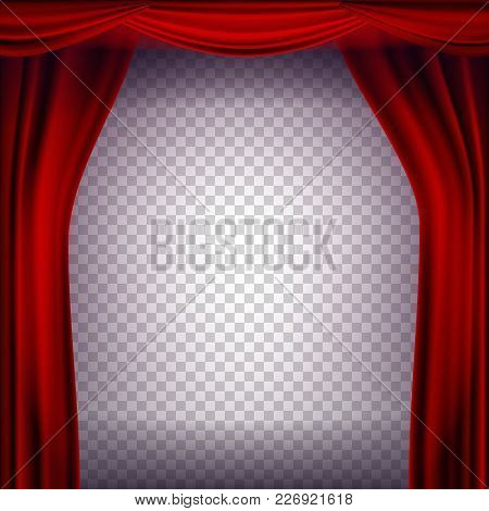 Red Theater Curtain Vector. Transparent Background. Poster For Concert, Party, Theater, Dance Realis