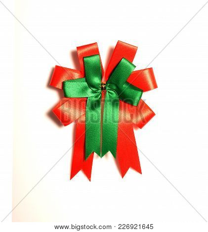 Fabric Bow Isolated On White Background, Red And Green Color Fabric Bow For Decorate In Christmas Or