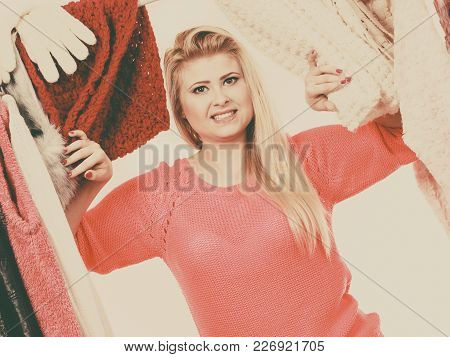 Young Woman In Wardrobe Home Closet, Teen Blonde Girl Choosing Her Warm Fashion Outfit On Clothing R