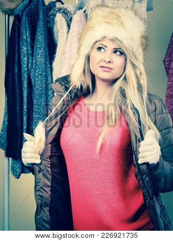 Accessories And Clothes For Cold Days, Fashion Concept. Blonde Woman In Winter Warm Furry Hat And Ja